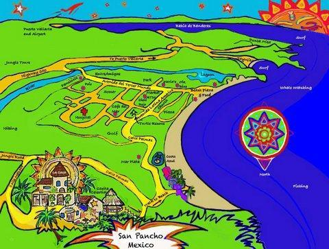 The map helps you orient yourself.  We are going down the garden path to walk over to the beach.