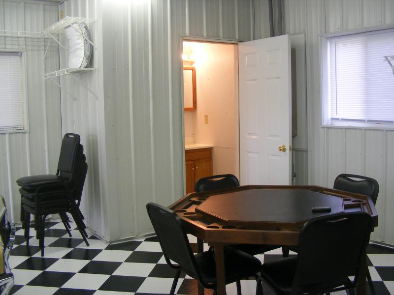 Hot Rod Hut Game Table and Powder Room