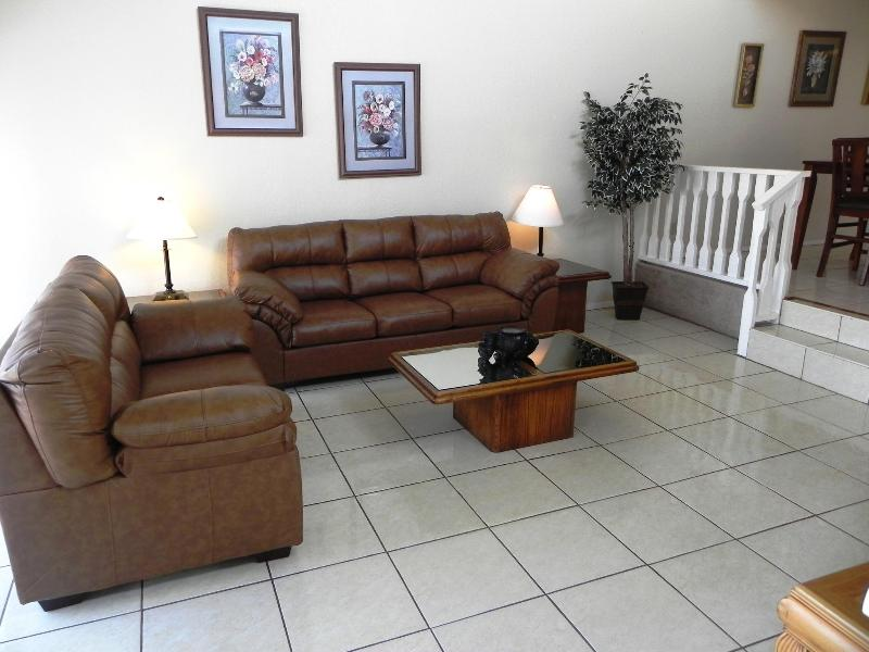 Full Size Leather Sofa Bed in the living room