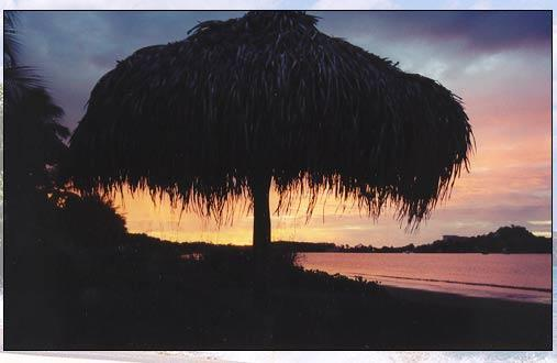 Sunset over the palapa... a great place to relax with your favorite cold drink...