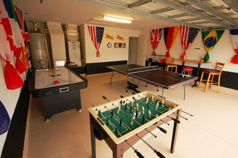 Nicely decorated Games Room with Ping Pong, Air Hockey and Foosball