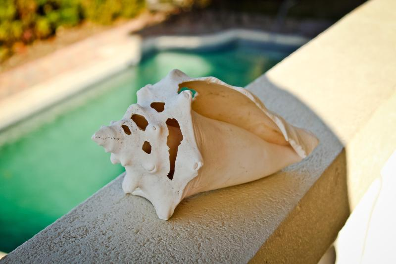 A beach shell sits on the southern balcony, overlooking the pool
