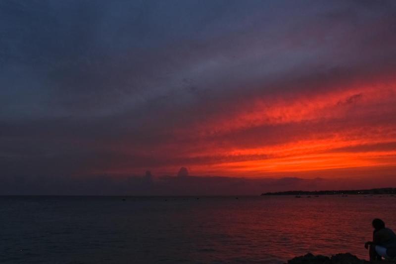 A kaleidoscope of colour as the sun sets over the Miami Beach coastline.