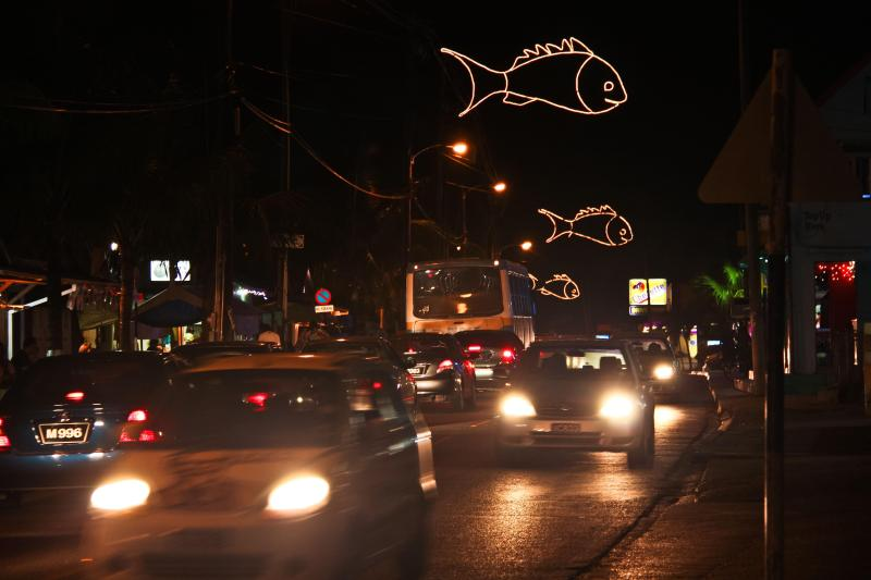 Oistins Town at night.