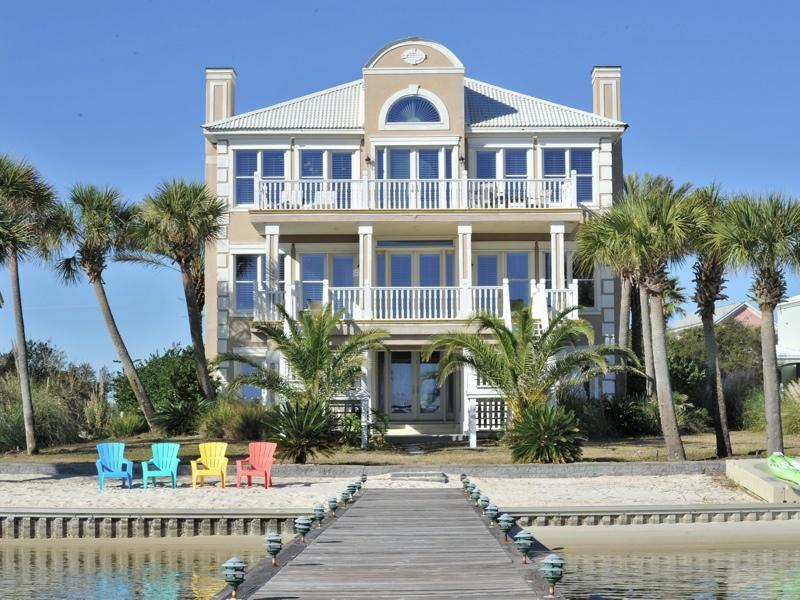 View of home standing on pier
