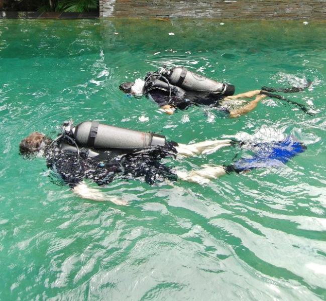 Learn to scuba dive in the villa pool