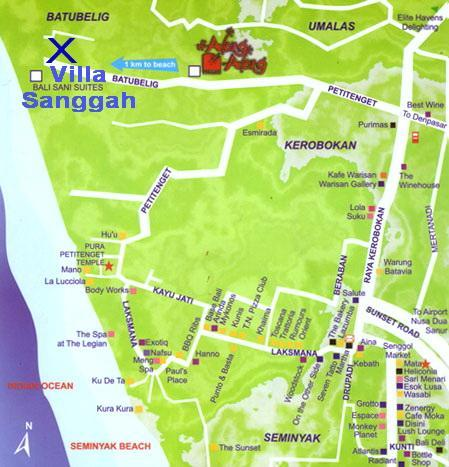 Map of our corner of Bali. X marks our spot. You can see from this map how close the Indian Ocean is