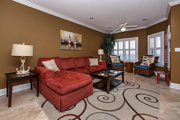 The livingroom has a queen sleeper sofa for the kids.