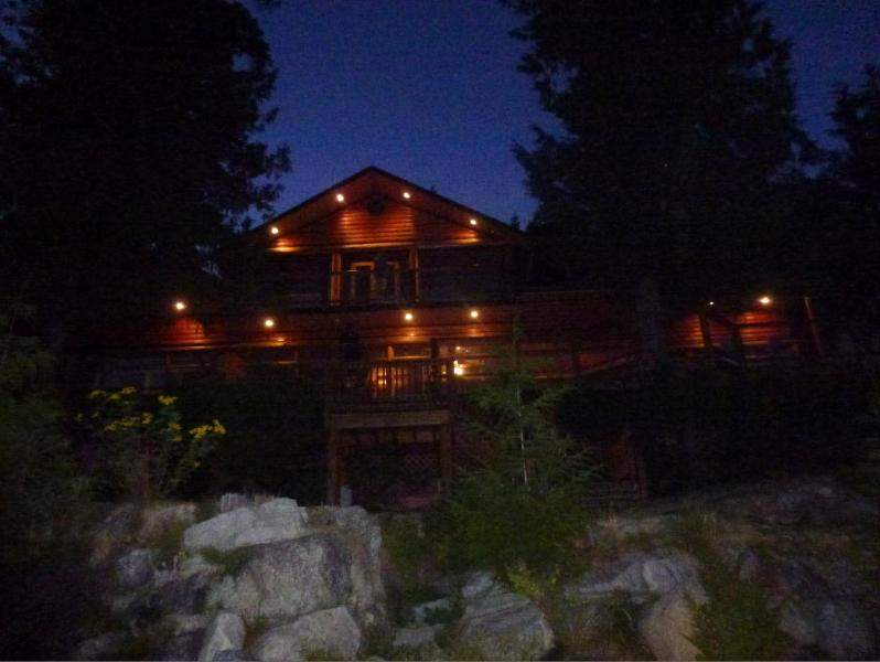 lodge after sunset