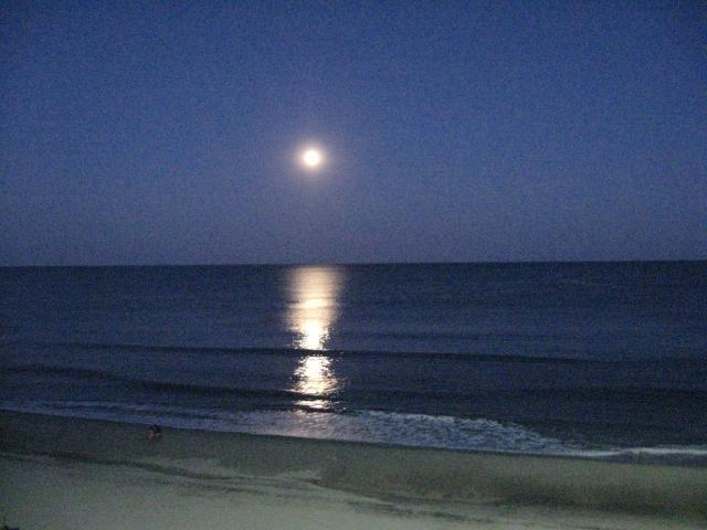 Moon over ocean from the balcony
