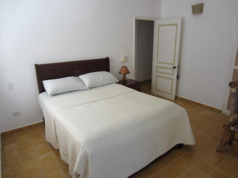 Queen-size bed in the guest bedroom