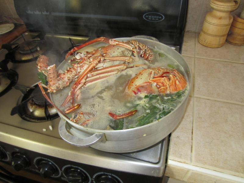 Preparing a delicious lobster meal with all-local produce