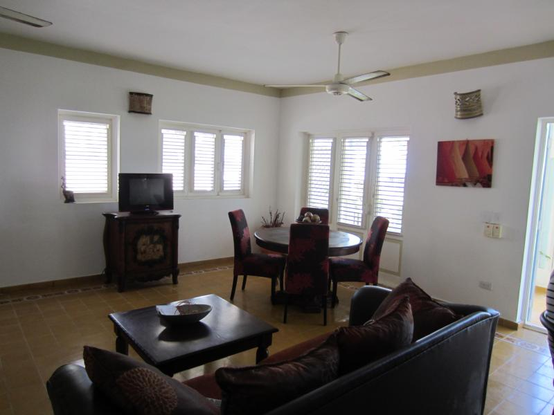 Living room with cable television