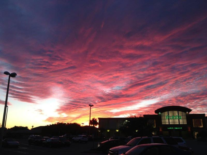 Sunset over the nearby supermarket