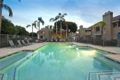 POOL WITH PALM TREES ON PROPERTY