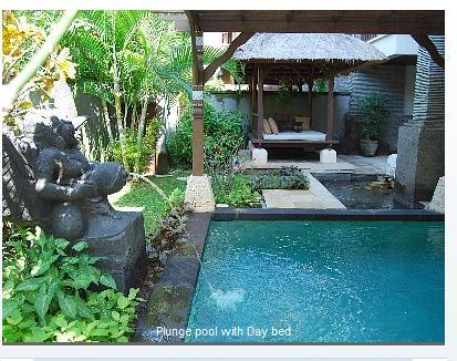 Lovely yard with pool, day bed