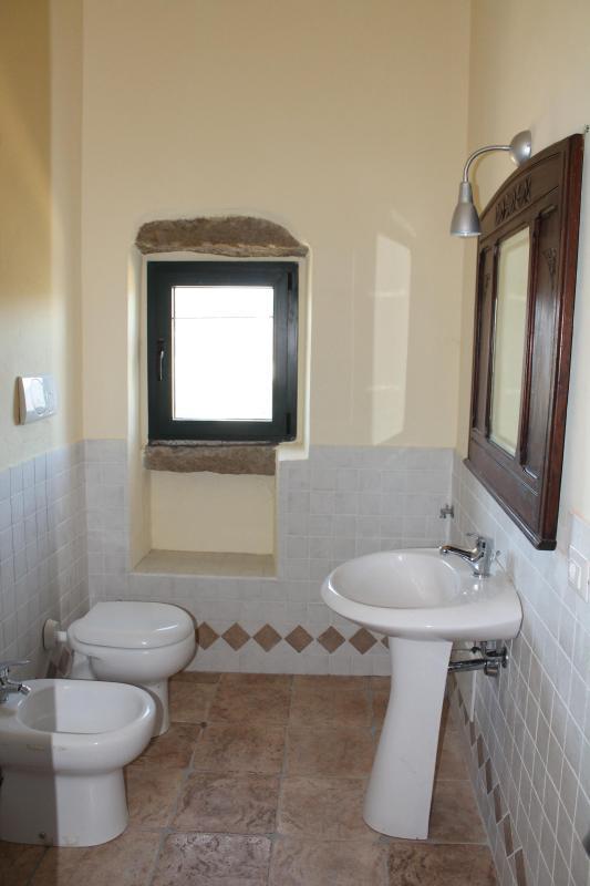 Er zijn 2 badkamers met 1 wasmachine
