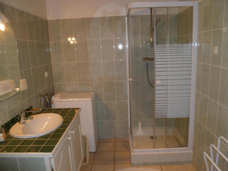 A casa de banho com cabina de chuveiro nova