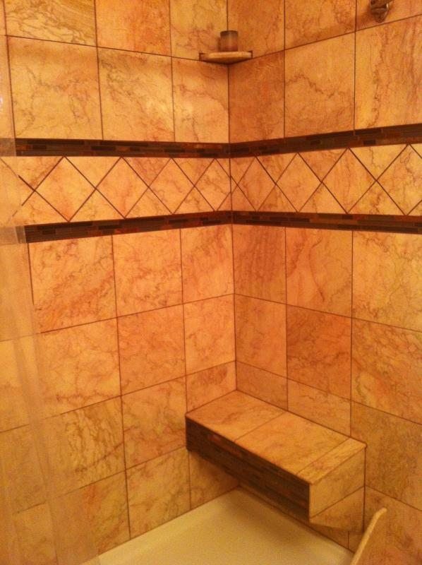 Marble shower with bench