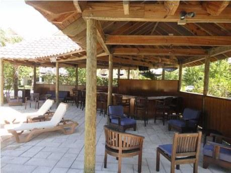 Tiki bar with plasma TV for your parties
