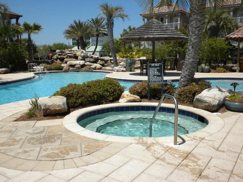Big hot tub at the community's lagoon style pool