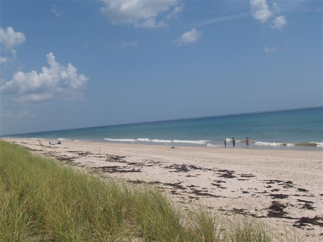 view of beach looking north which is never crowded and near Shuckers restaurant.