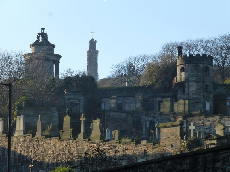 A view of Calton Cemetary off the Royal Mile
