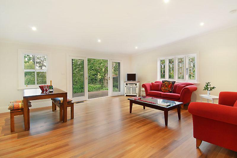 The lounge-dining room overlooks the peaceful garden