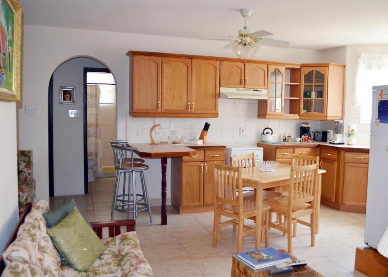 Kitchen seen from the TV area