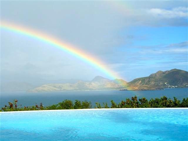 Rainbow over the pool is seen often