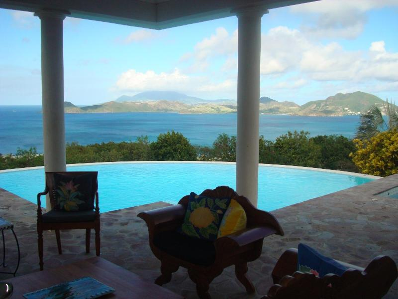 Veranda's  magnificient view of St. Kitts