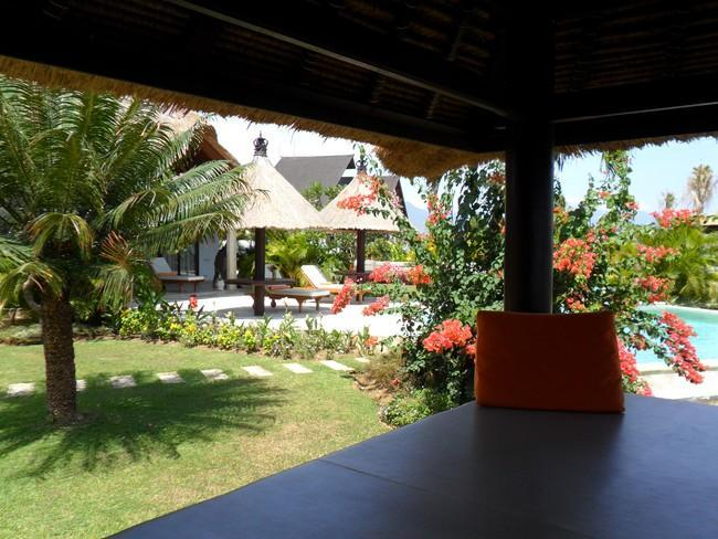 view from Bale Benong into garden with pool
