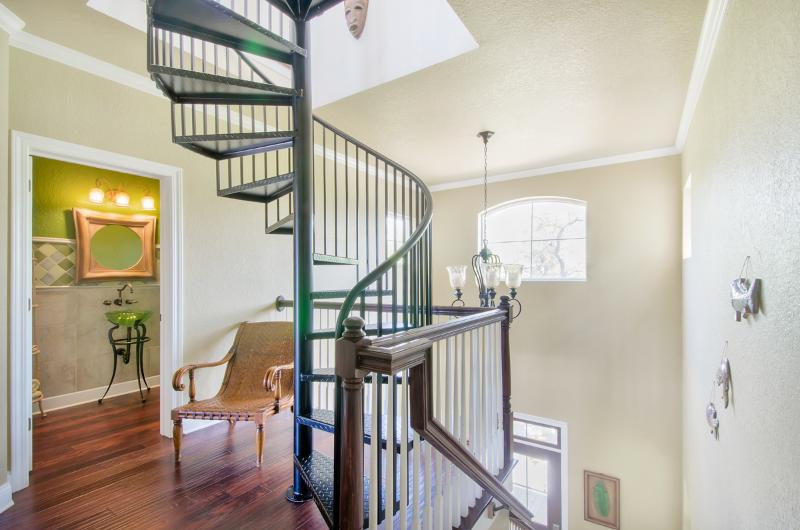 Spiral staircase to third floor
