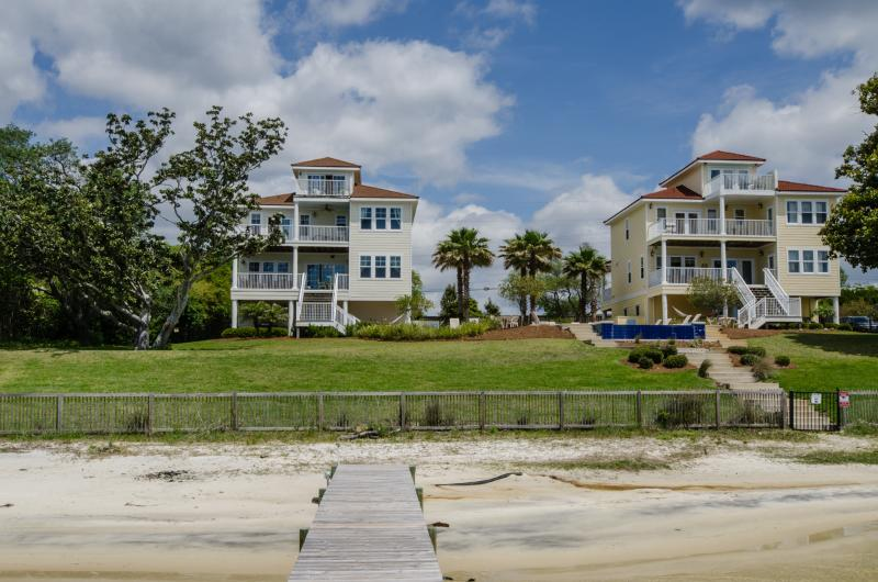 View from dock - Seahorse Retreat is on left; Palm Breeze Beach House is on right