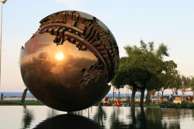 Pesaro, 'Grande Sfera' di Arnaldo Pomodoro; Birthtown of composer Gioachino Rossini