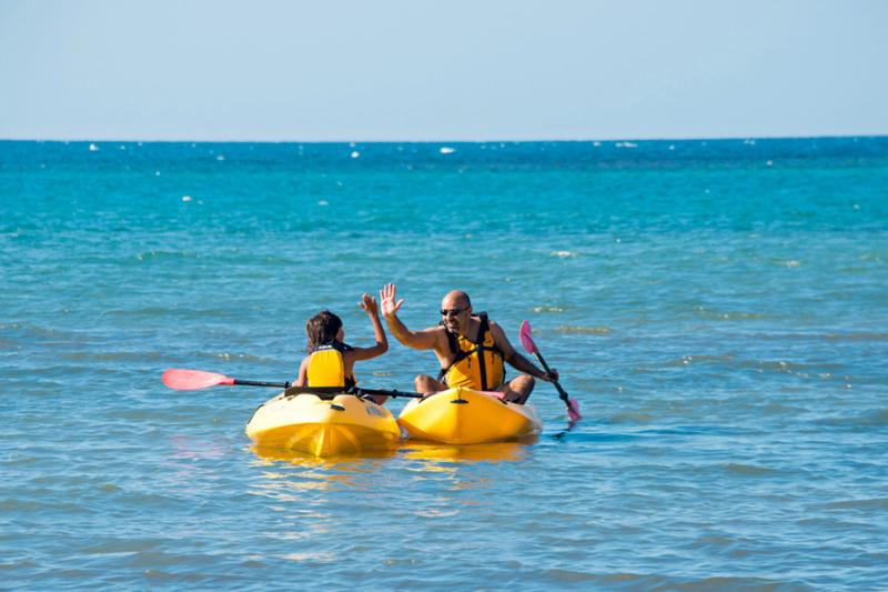 Easily reachable by kayak, at low tide, portions of the reef protrude above the water so you can step from your kayak to snorkel in shallow water.    On the Caribbean side, deeper waters beckon the more adventurous or scuba equipped.