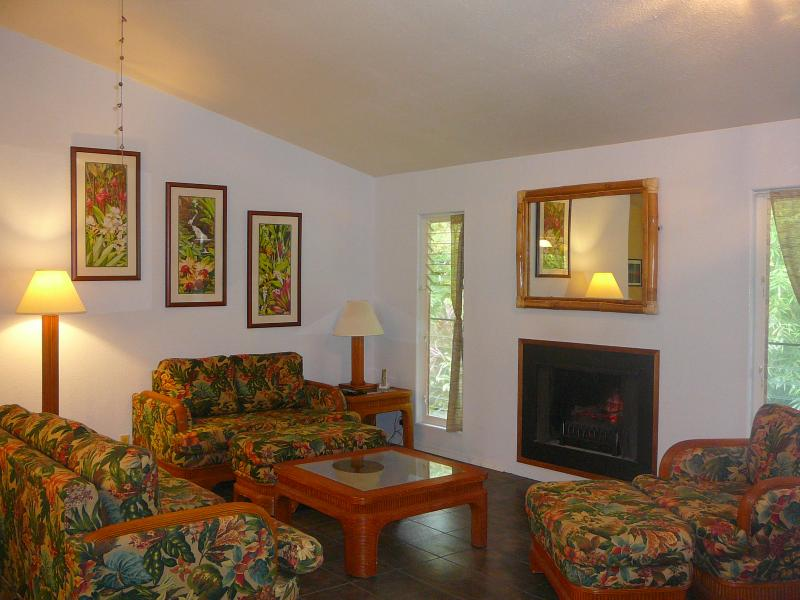 Hale Lezarde Living Room with Garry Palm tropical prints and Electric Fireplace