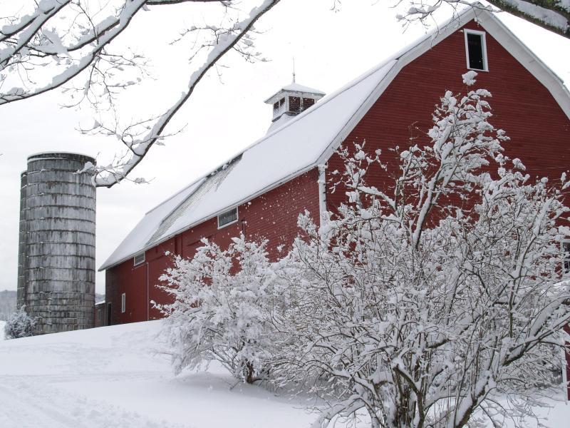 Unsere herrlichen jahrhundertealten Post und Beam Scheune unter dem Deckmantel der Neuschnee