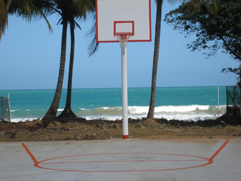 A basketball court is a couple of door away