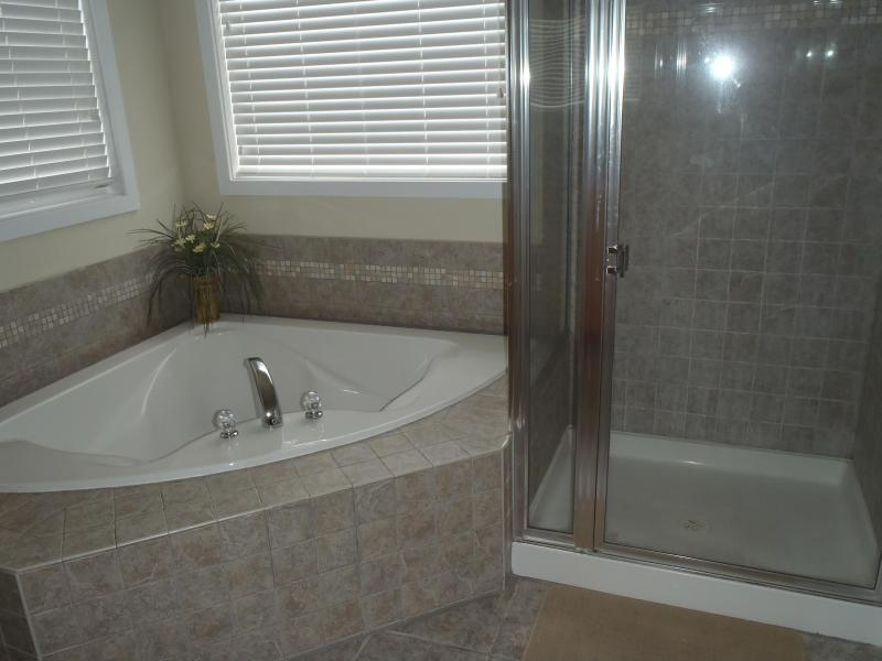 Master Bath with Two Person Soaking Tub and Double Vanity