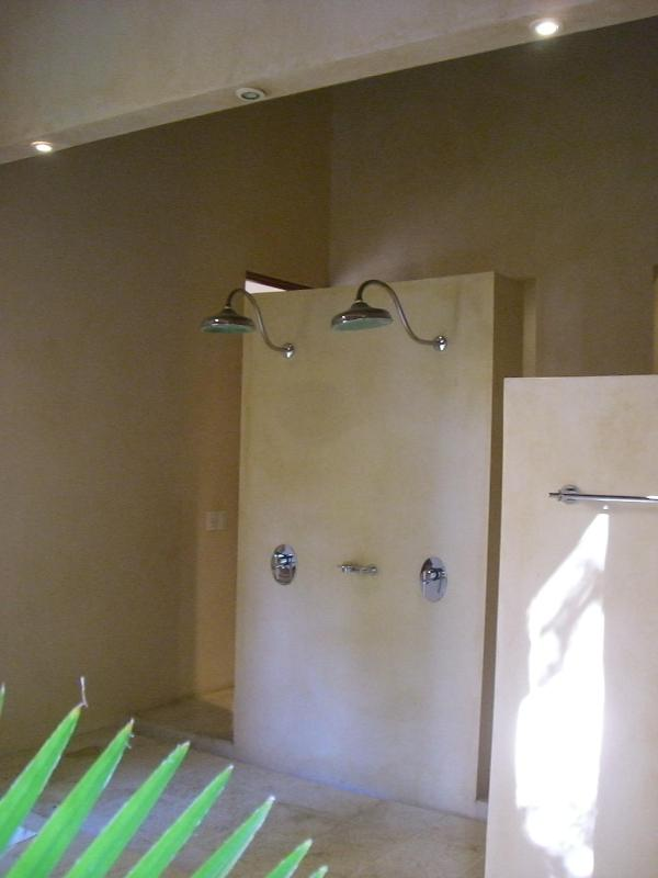 The double shower bathroom for two bedrooms