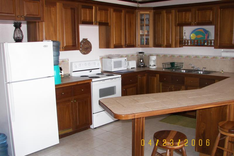 Fully equipped kitchen with Coffee Maker, Blender, Microwave, toaster and most everything you need