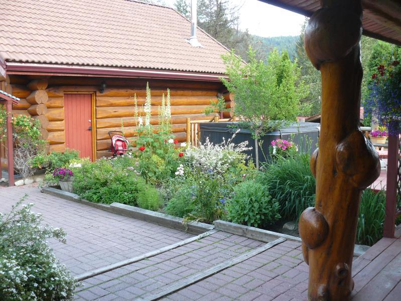 Main house entry facing rental cabin