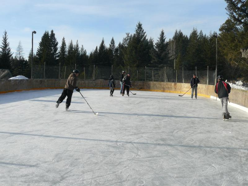 ice skating on a beautiful , cold winter day