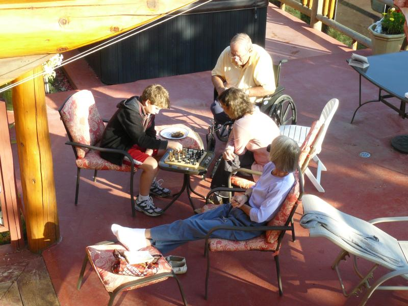 Board gaming on the deck in summer