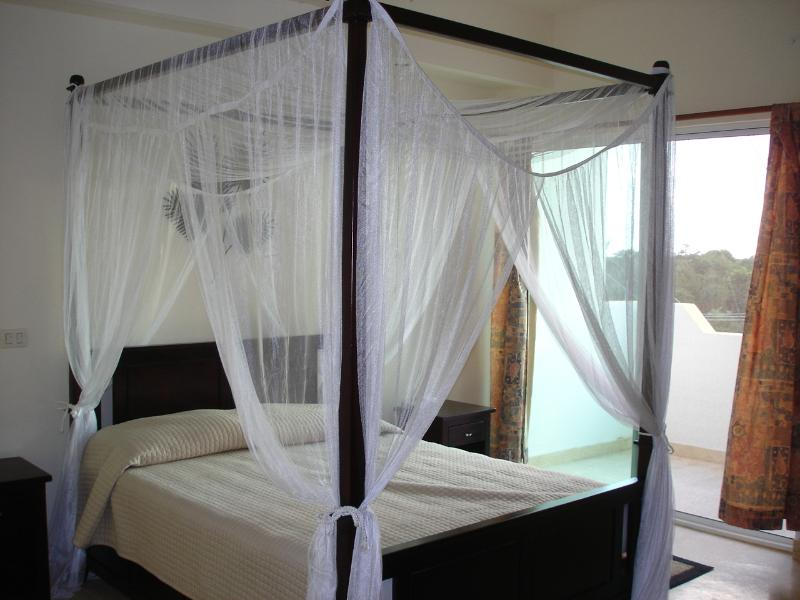 Slaapkamer met een Queen size hemelbed en badkamer