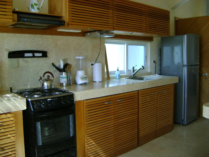Keuken heeft fornuis, koelkast, magnetron, koffiezetapparaat, broodrooster, blender