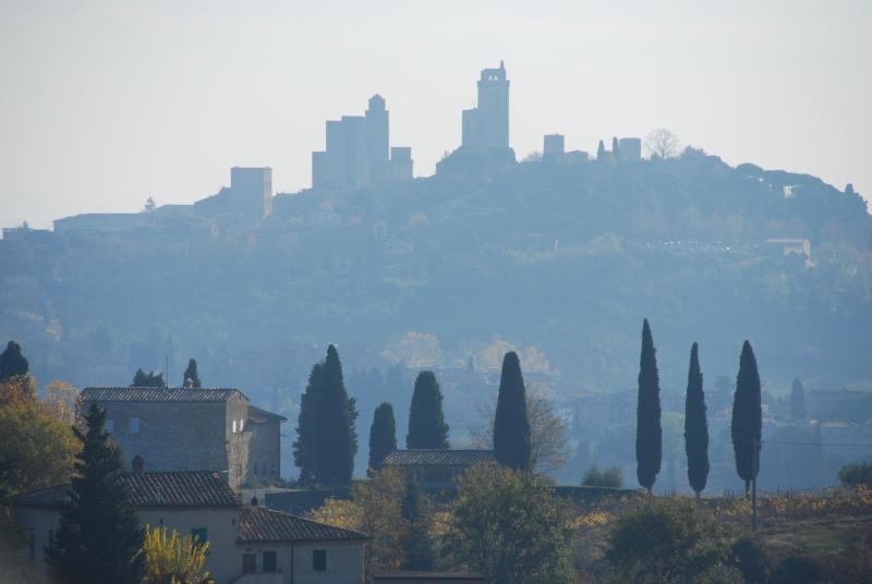 San Gimignano rising from the mist