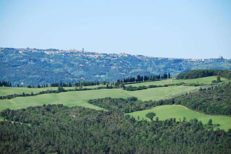 View from master bedroom and kitchen towards Volterra on the hilltop