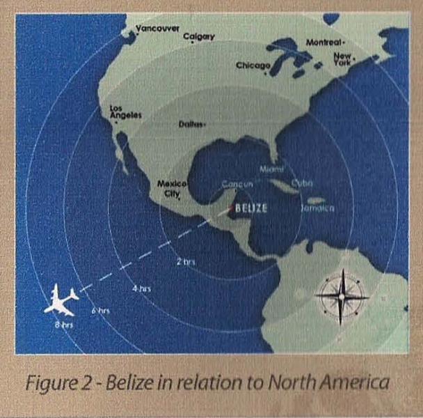Travel distance to Belize, map flight distance and estimated time